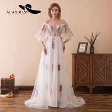 Alagirls A-line Flower Lace Evening Dress 2019 Sexy Illusion Evening Gown Off The Shoulder Sleeve Party dress Vestido de noche