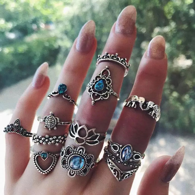 RAVIMOUR 13PCS Anillos Mujer Blue Crystal Turtle Heart Finger Rings for Women Mi