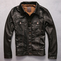 2016 new arrives men's genuine leather jacket dark brown goatskin coat men single breasted leather shirt men Open wire quilting