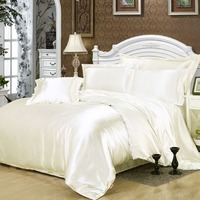 1 Set 4 PCS 8 Colors Silk Bedding Set Duvet Cover Silk Pillowcase Silk Sheet Luxury