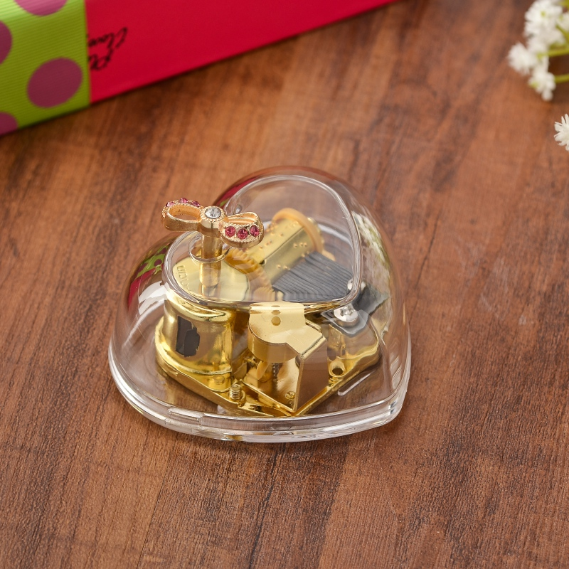 2018 Creative Exquisite Circle Gold Transparent Wind Up Music Box Gift Castle In The Sky Happy Birthday 6 Songs