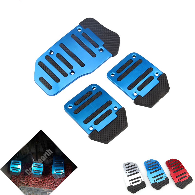 Footrest Pedals Universal Manual Automatic Transmission Non-Slip Car Pedal Cover Set Pedal Pads Auto Accessories Blue Red silver