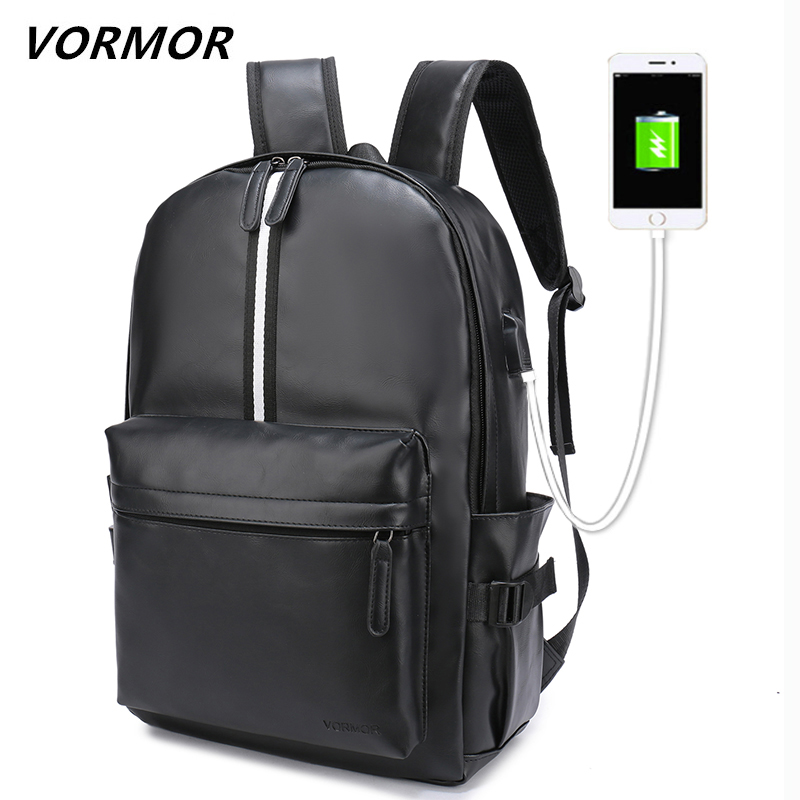 VORMOR 2019 New Preppy Style Leather School Backpack Bag For College 15.6 Inch Laptop Backpacks Men Casual Daypacks Mochila