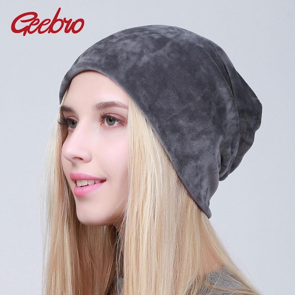 Geebro Brand Women's Velour   Beanie   Hats Spring 2018 Casual Hat For Women 100% Polyester Skull   Beanies   Balaclava Female Cap
