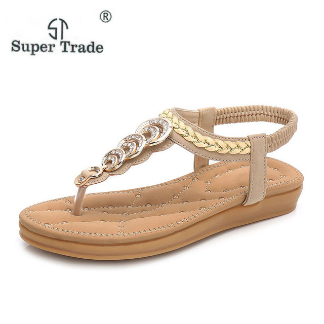 9cf834b71e78 Free Shipping Size 35-41 New National Style Double Bottom Comfortable Flat  Boho Female Sandals Women Sandals Summer Shoes B68-2