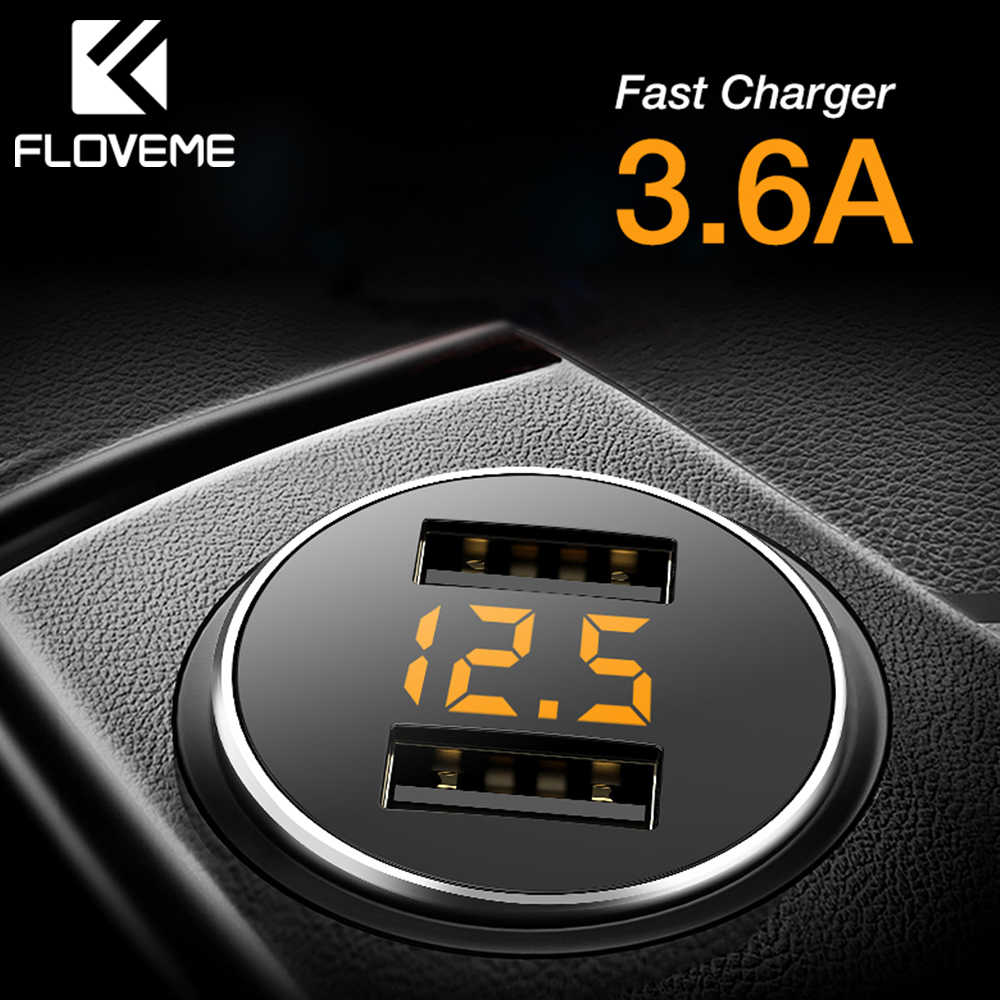 FLOVEME 3.6A USB Car Phone Charger Dual Port Car Chargeur Charger USB Fast Charging Car Charger For iPhone Xiaomi Quick Charger
