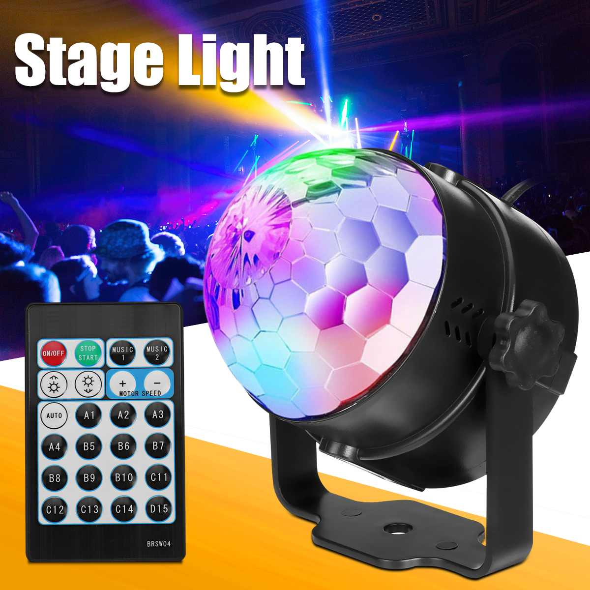 Mini Color LED  Light Magic Ball Laser Projector Rotating Remote KTV Party  Lighting Effect