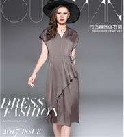 New Summer Dress Women Silk dress Khaki Red Pink Natrual Fabric High Quality Clothing Free Shipping LYQ48OLM7