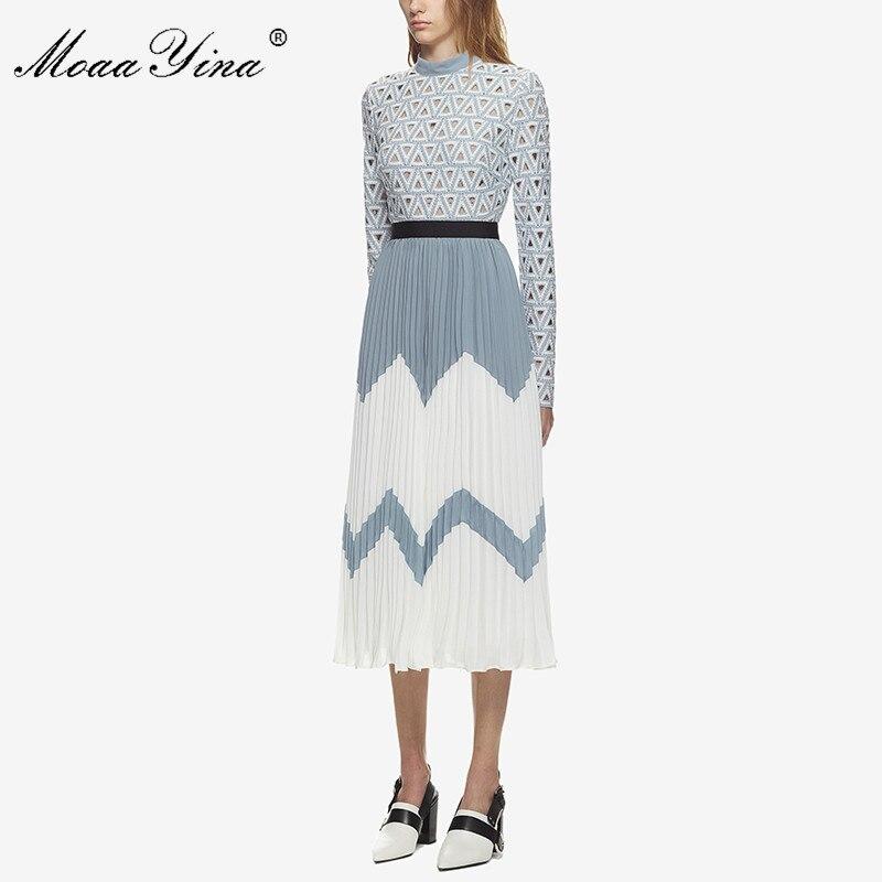 MoaaYina 2018 vestido Midi de moda de diseñador de pasarela de verano de mujer de cuello alto de manga larga ahuecado de retazos plisado vestido Casual-in Vestidos from Ropa de mujer    2