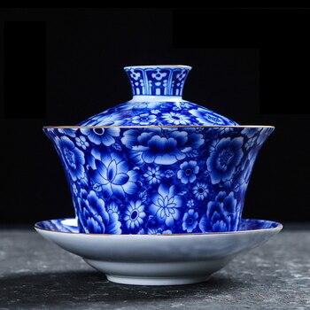 Tetera De Porcelana | Jindezhen Cerámica Azul Y Blanco Porcelana Vintage Gaiwan Con Juego De Tapas Creativo Oro Alto Pies Tetera Hogar Bebedero Tetera