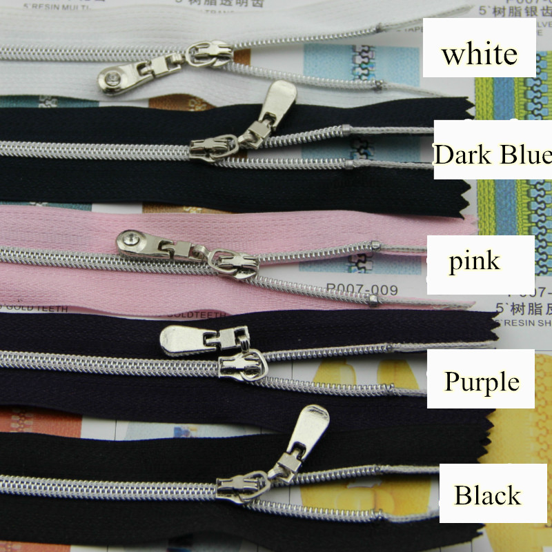 8pcs/lot NO.3 Nylon Zipper 5 Colors/20cm/Close end/Auto Lock/Silver plating teeth for bags clothes DIY free shipping
