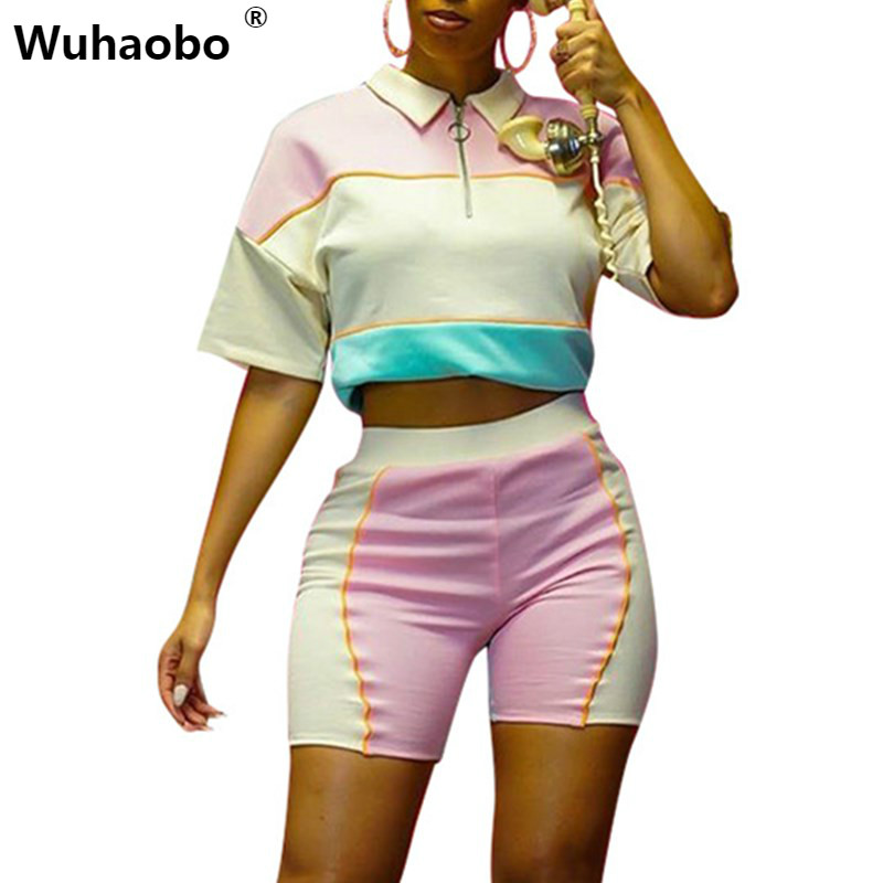 Wuhaobo <font><b>Sexy</b></font> Casual Outfits Tracksuit Women Sweatshirt And <font><b>Shorts</b></font> Patchwork Striped Two Piece Set <font><b>Ensemble</b></font> <font><b>Femme</b></font> Dos Piezas image