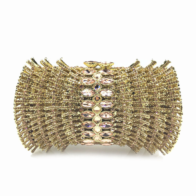 Hollow handmade Diamond beaded solid evening clutch bags 2016 new fashion high-grade gems luxury handbags women bags designer