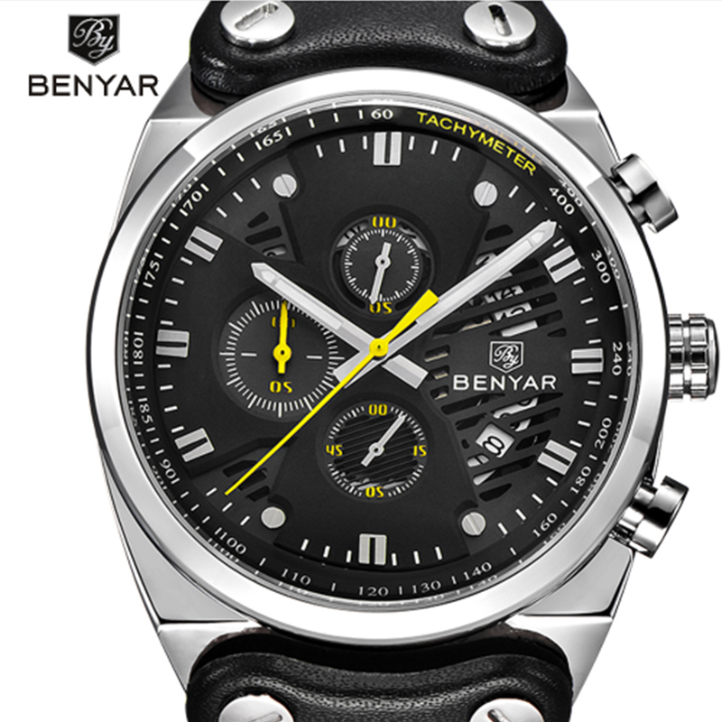 BENYAR Sports Watch Men's Top Brand Luxury Chronograph Men Quartz Men's Waterproof Multifution Leather Military Men's Watch didun watch mens top brand luxury quartz watch men military chronograph sports watch shockproof 30m waterproof wristwatch