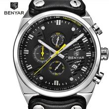 BENYAR Sports Watch Mens Top Brand Luxury Chronograph Men Quartz Waterproof Multifution Leather Military