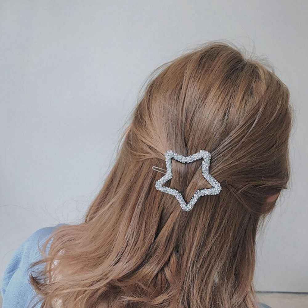 1 Pcs Fashion Kristal Berlian Imitasi Jepit Rambut Bintang Segitiga Bentuk Bulat Wanita Rambut Baret Klip Rambut Styling Aksesoris