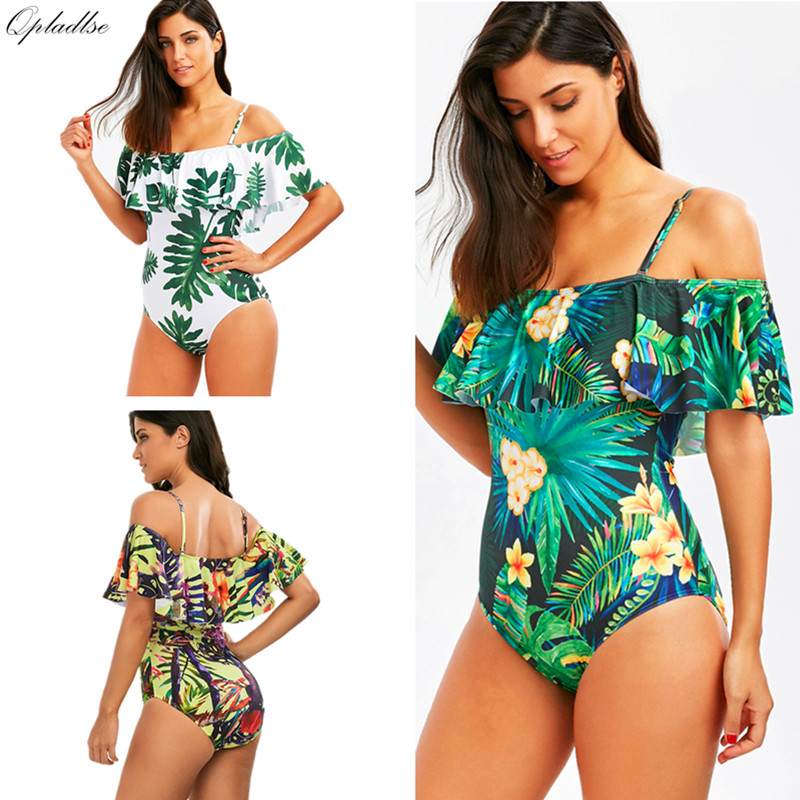 e21af304a8 One Piece Swimsuit Women Swimwear Off Shoulder Monokini Plus Size Bathing  Suit Sexy Ruffle Bodysuit Female Bather 2019 May Beach-in Body Suits from  Sports ...