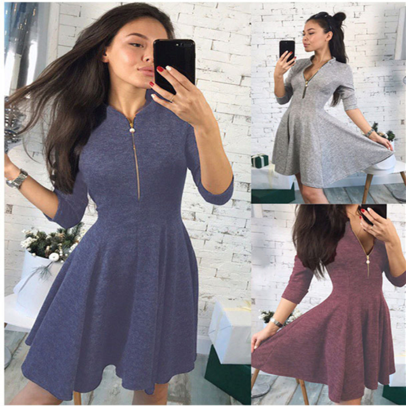 Fashion retro women's summer elegant sexy sleeve casual dress Chic design neckline zip waisted solid color dress party dress