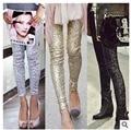 Mulheres de alta qualidade 2016 sexy moda feminina brilhante ouro preto lantejoulas embossed lantejoula glitter leggings pants prata s m l