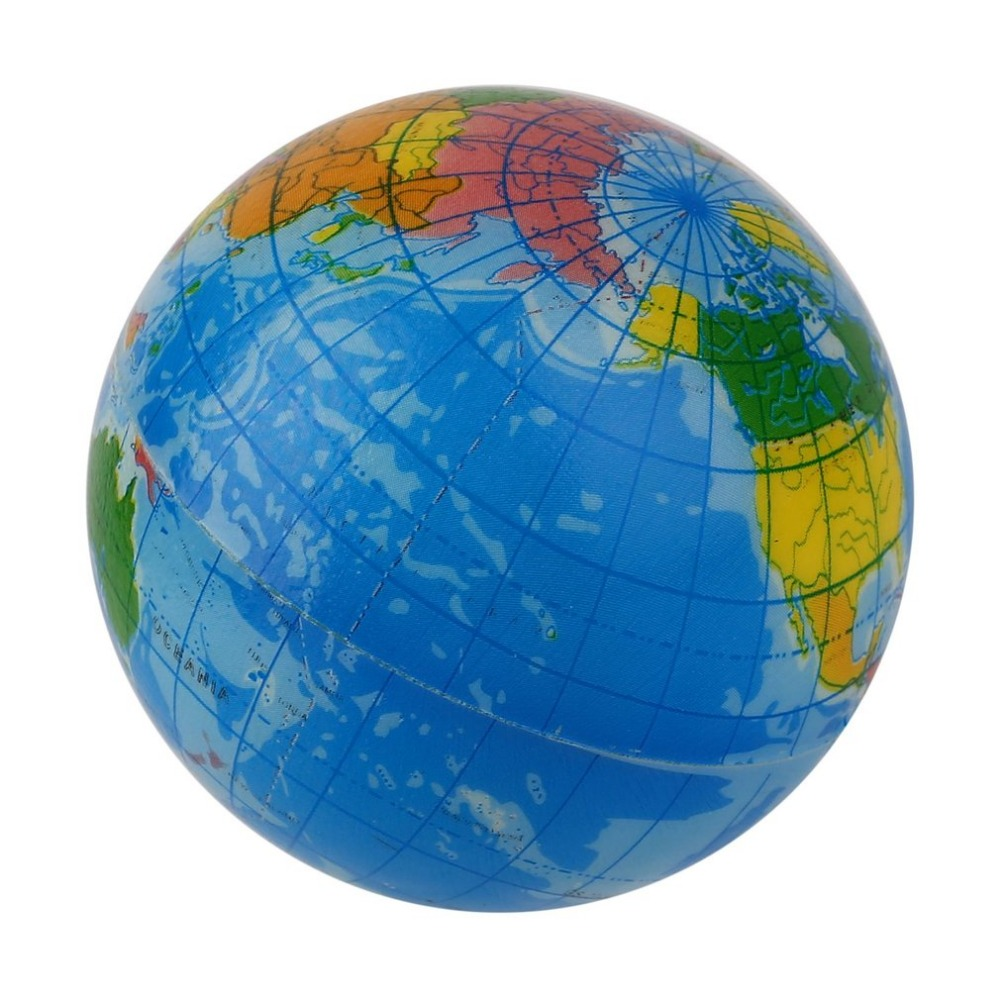 OCDAY World Map Foam Earth Globe Stress Relief Bouncy Ball Atlas Geography Toy TH092 New Arrival