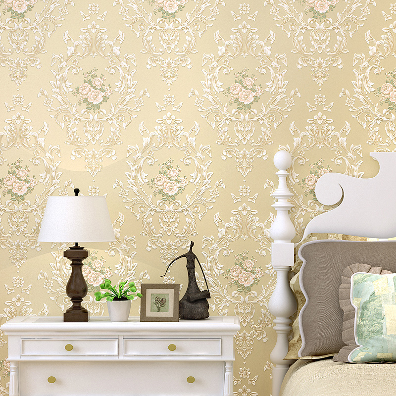 Textured European Floral Damask Wallpaper Bedroom Living Room Wall Paper Home Decor, Green,Pink,Beige 7 colors optional beige floral wallpaper damask wallpaper pvc wall murals free shipping best wallpaper qz0314