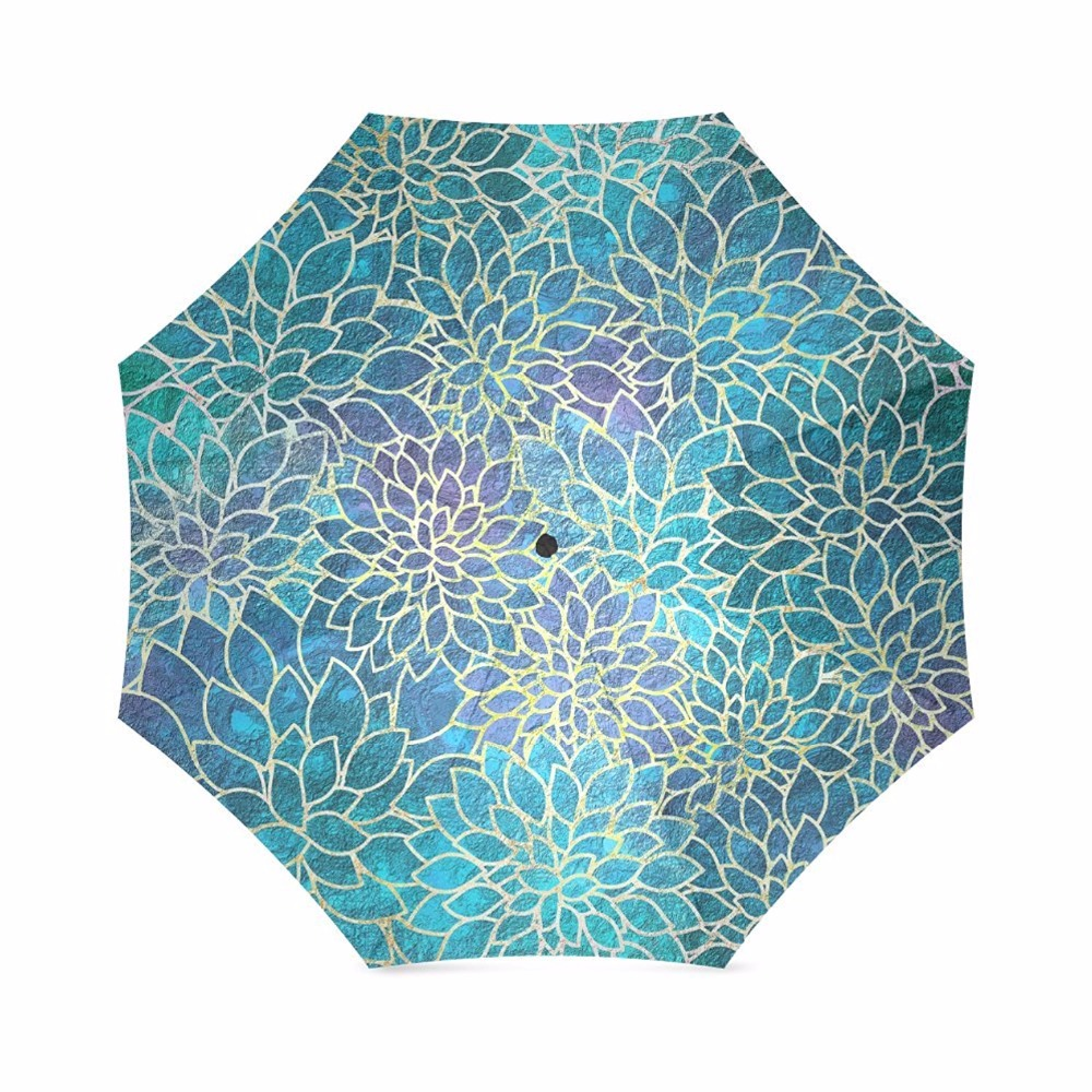 Floral Abstract Foldable Sun Rain Travel Umbrella 100% Fabric Aluminium High-Quality Foldable Umbrella