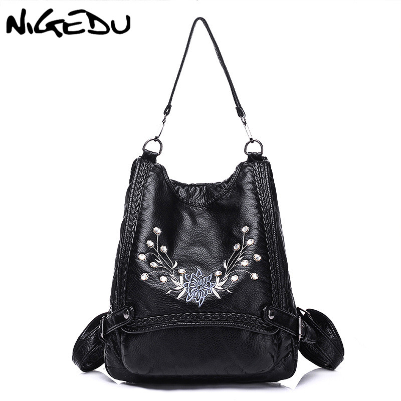 Multifunctional Backpack Female Shoulder Bag Embroidery Flowers School Bag For Teenage Girls Soft Pu Leather Anti Theft Backpack