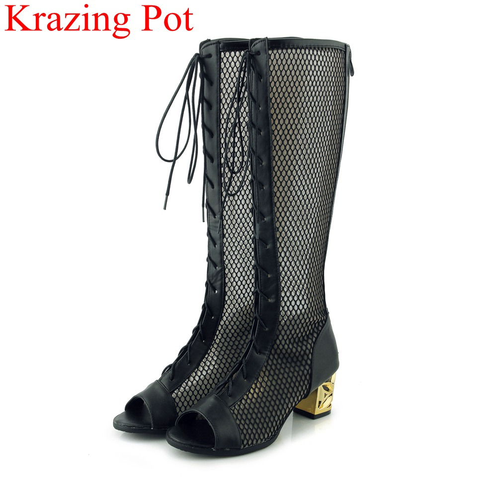 2018 fashion brand summer boots pu high heels strange style women boots knee high hollow lace up peep toe thigh high boots L36