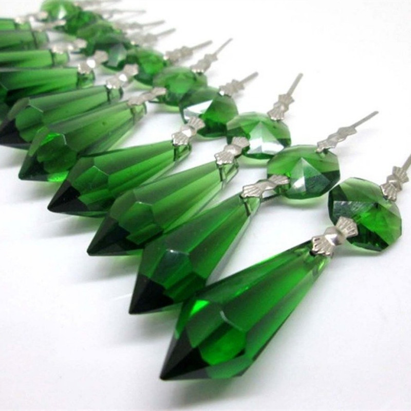 20pcs/lot Green Crystal Glass Chandelier Icicle Drop Pendants Hanging Lighting Prisms Parts Height 55mm(2.16