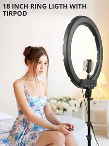 Travor LED Ring-Lamp Tripod-Phone-Holder Photo-Light Makeup Studio Youtube 18inch