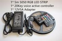 5 m IP65waterproof 5050 Biały Pcb Taśmy LED RGB taśmy Światła 20Key Muzyka Voice Czujnik Kontroler + 12 V 5A Zasilanie kit