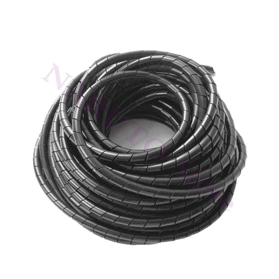 Flame retardant 15meter Length ID 6mm Black spiral Wrapping Cable casing Cable Sleeves Winding pipe wrapping band for 3D Printer spiral wrapping band swb 10 diameter 10mm about 10m length black white cable casing cable sleeve winding pipe spiral wrapping
