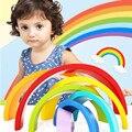 7 Unids/lote Ordenar Color Educativos Bloques De Madera del Cabrito Del Arco Iris Círculo Conjunto Creativo Bebé Juguetes Para Niños Aprendizaje Temprano Juego regalos