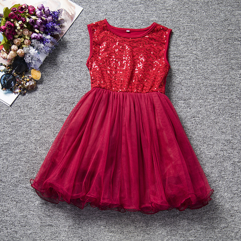 U-SWEAR 2019 New Arrival Kid   Flower     Girl     Dresses   O-neck Sleeveless Sequined Beaded Chiffon Ball Gown Pageant   Dresses   Vestidos