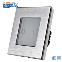 EU UK 2gang 1way 700W Touch Remote Dimmer Light Switch Aluminum And Glass Panel Touch Light