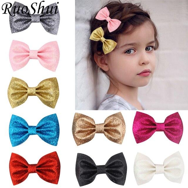 12 צבע 3 אינץ בנות חמוד עור גליטר שיער קליפים אופנה ילדי בארה ב שיער קשתות סיכות שיער ילדי נסיכת אבזרים