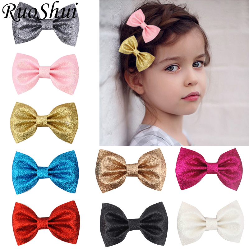1pc Koran 3 Inch Leather Glitter Hair Bows for Girls Fashion Children   Headwear   Hair Clips Hairpins Princess Hair Accessories