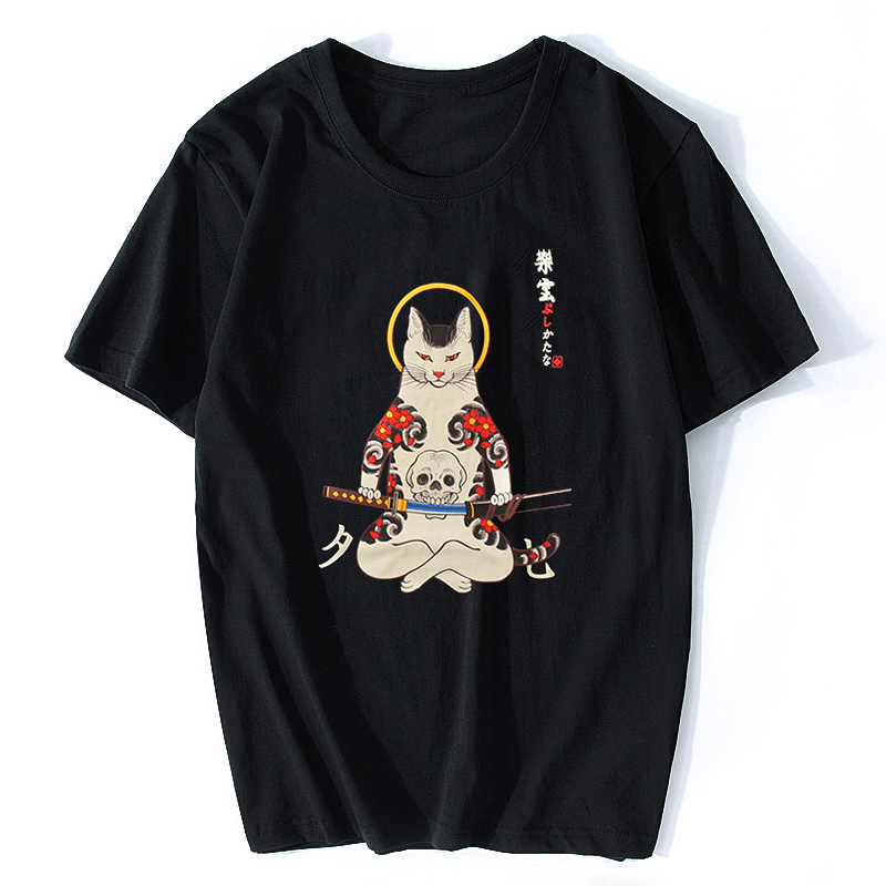 Anime Tshirts Tees Short-Sleeve Samurai Cat Ukiyo E Hip-Hop Funny Japan-Style Mens