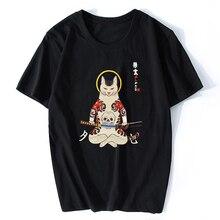 2019 Streetwear Japan Style Ukiyo E Funny Samurai Cat Anime TShirts Mens Short Sleeve T-shirts Hip Hop Tees