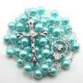 Colorful glass bead pearl imitation rosary necklace, 8 mm round bead catholic rosary