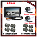 4.3' Car Monitor Reverse Radar Monitor System Parking 8 Sensor with Front View Camera + Rear view Camera Parking Assist