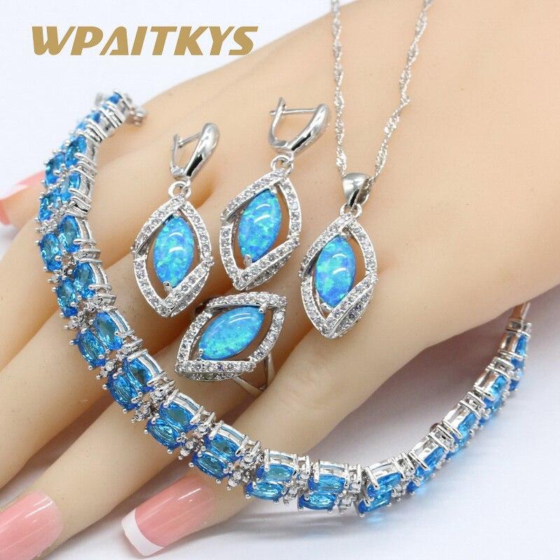 925 Silver Jewelry Sets For Women Marquise Australia Blue Opal Necklace Pendant Earrings Rings Sky Blue Crystal Bracelets