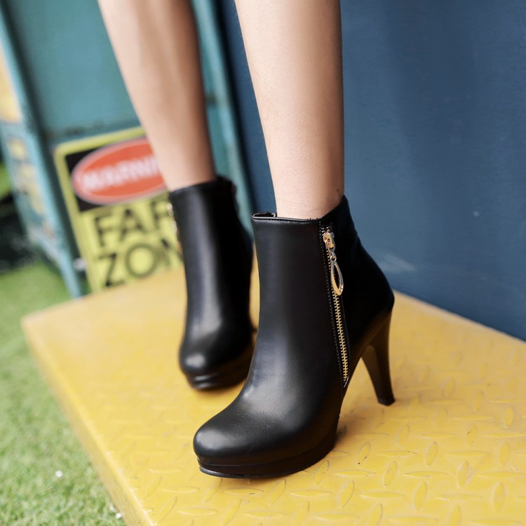 ФОТО 2016 plain all-match high-heeled boots small yards 32 33 plus size 40 43 44 - - - 48 autumn and winter boots free shipping