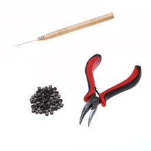 Feather Hair Extension Tools Set Curved Pliers Hook Needle Pulling Threader Knitting Micro Rings  Stick Styling Salon Tool
