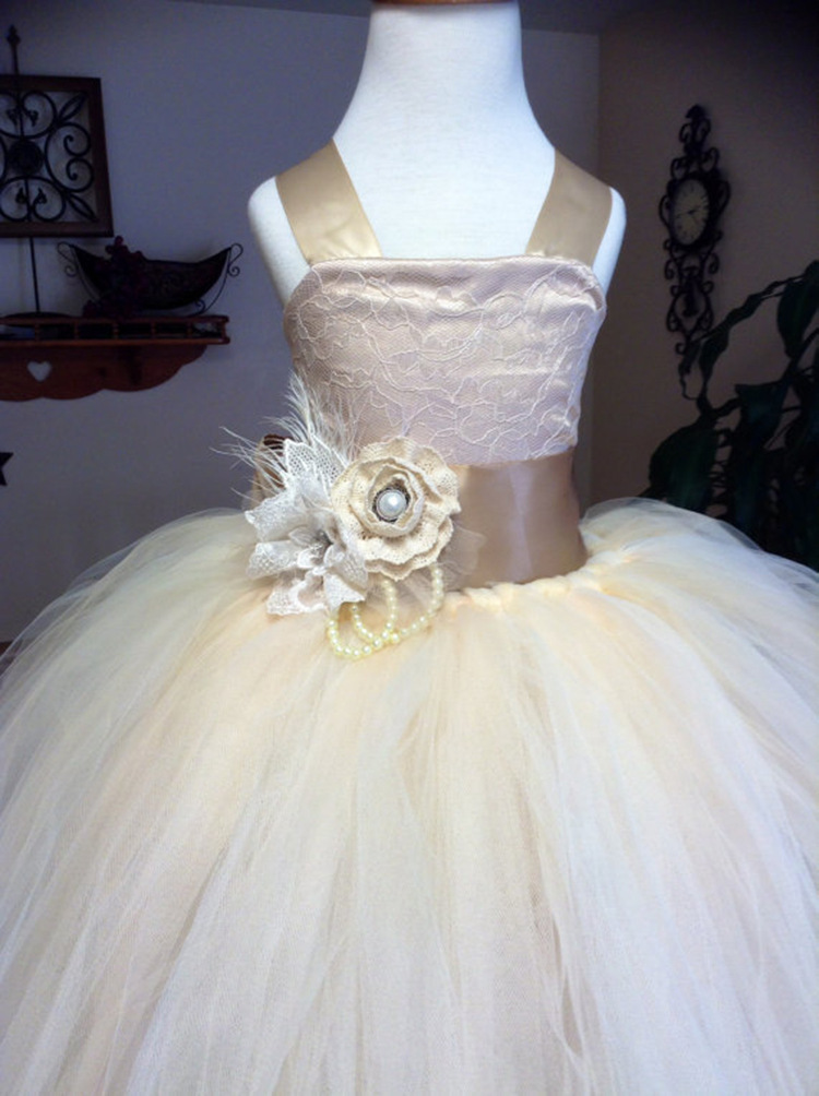 Vintage Formal Communion Dress Square Collar Lace Up Appliques Tulle Ball Gowns Ruffle Pageant Flower Girl Dress HB5217 gorgeous lace beading sequins sleeveless flower girl dress champagne lace up keyhole back kids tulle pageant ball gowns for prom