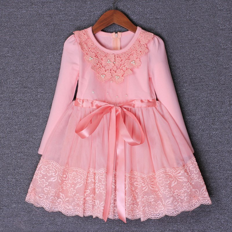 3-9years Autumn Flowers Pearls Girls Dress Girls Clothing Princess Party Birthday Dovetail Dresses Girl Costume Kids PinkPurple