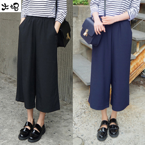 2016 Cheap wholesale summer Hot sale fashion chiffon wide leg   Pants     capris   plus big size loose casual ankle length Trousers