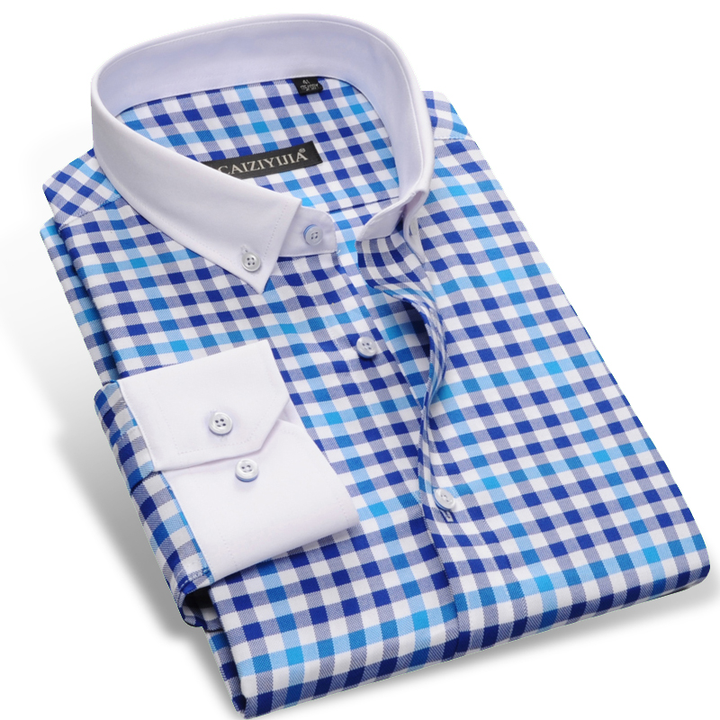 CAIZIYIJIA 2017 Men's Long Sleeve Contrast Plaid Checked Shirts With White Square Collar Casual Slim-fit Button-Down Dress Shirt