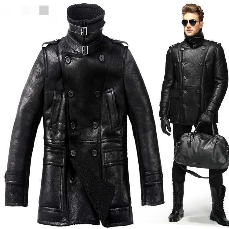 Men Winter British 100% Sheepskin fur Double Breasted vintage ...