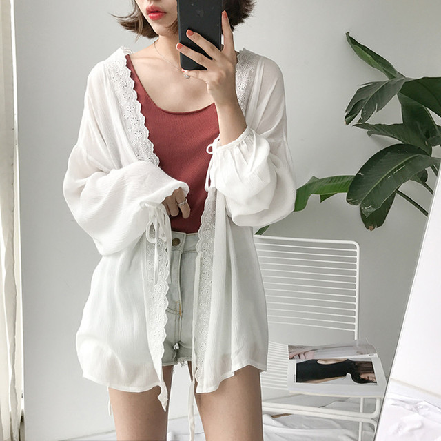 fcb6fb0a41a6a 3 colors Lace patchwork Women Long Sleeve Cardigan Summer Beach Cover Up  Cape Tops Blouses womens (B0585)